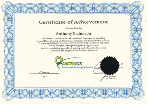 Amtech UK Degree in Professional Floorcare Anthony Nicholson Carpet Doctors